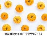 Pumpkins Patterned Over White...