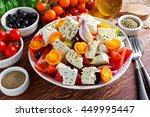 greek salad with fresh sweet... | Shutterstock . vector #449995447