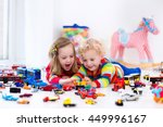 little toddler boy and girl... | Shutterstock . vector #449996167