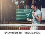 happy winner. side view of... | Shutterstock . vector #450033403