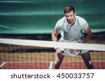 tennis player. handsome young... | Shutterstock . vector #450033757