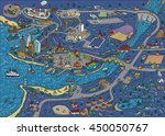 doodle town at night. map....   Shutterstock .eps vector #450050767