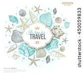 vintage summer sea shells... | Shutterstock .eps vector #450059833