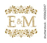 E And M Vintage Initials Logo...