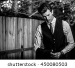 elegant handsome man in... | Shutterstock . vector #450080503