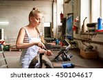 a young woman working at the... | Shutterstock . vector #450104617