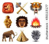 prehistoric people icons... | Shutterstock .eps vector #450115177