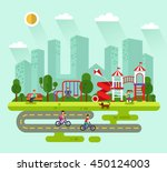flat design vector summer... | Shutterstock .eps vector #450124003
