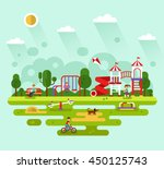 flat design vector summer... | Shutterstock .eps vector #450125743