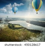 travel and tourism. top view of ... | Shutterstock . vector #450128617