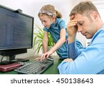 little girl disturbing her dad... | Shutterstock . vector #450138643