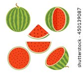 set of juicy whole watermelons... | Shutterstock .eps vector #450139087
