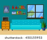 flat retro living room with... | Shutterstock .eps vector #450155953