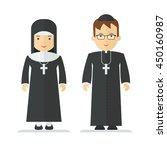 catholic priest and nun.... | Shutterstock .eps vector #450160987