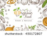organic food banner with... | Shutterstock .eps vector #450172807