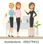 group of three colleagues... | Shutterstock .eps vector #450179413
