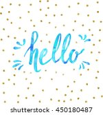 hello lettering on stripe hand... | Shutterstock .eps vector #450180487