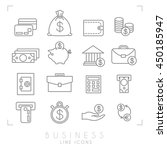 set of line thin business and... | Shutterstock .eps vector #450185947