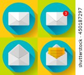set open envelope mail icon new ... | Shutterstock .eps vector #450187297