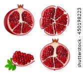 set pomegranate fruit segment.... | Shutterstock .eps vector #450198223