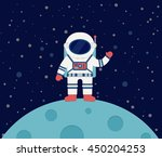 astronaut waving in outer space ... | Shutterstock .eps vector #450204253