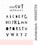 vector paper cut alphabet .... | Shutterstock .eps vector #450205753