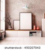 mockup poster in the interior.... | Shutterstock . vector #450207043