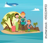 happy family on travel by... | Shutterstock .eps vector #450224953