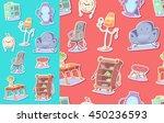 cute furniture seamless pattern.... | Shutterstock .eps vector #450236593
