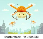 cute drone and package. drone... | Shutterstock .eps vector #450236833