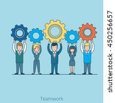 linear flat people team hold... | Shutterstock .eps vector #450256657
