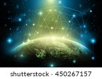 part of earth with network line ... | Shutterstock . vector #450267157
