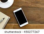 top view pen note paper cup of...   Shutterstock . vector #450277267