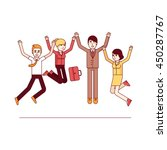 happy jumping high business... | Shutterstock .eps vector #450287767