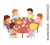 kids eating in kindergarten ... | Shutterstock .eps vector #450314323