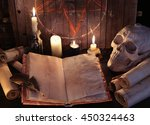Open Witch Book With Parchment...