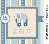 baby boy shower card  vector... | Shutterstock .eps vector #450345277