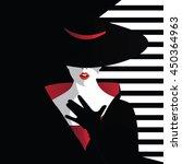 Fashion girl in retro style. Vector illustration.   Shutterstock vector #450364963