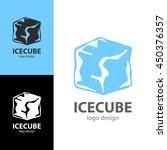 logo design ice cube  vector... | Shutterstock .eps vector #450376357