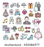 wedding hand sketch icons. cute ... | Shutterstock .eps vector #450386977