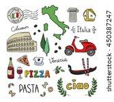 italy doodle symbols. hand... | Shutterstock .eps vector #450387247