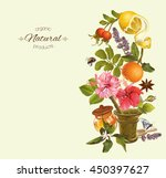 vector herbal vertical banner... | Shutterstock .eps vector #450397627