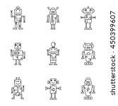 robot vector icon set