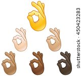 ok hand sign emoji set of... | Shutterstock .eps vector #450423283