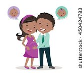 cheerful pregnant young couple. ... | Shutterstock .eps vector #450424783