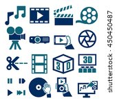 movie  video  icon set | Shutterstock .eps vector #450450487