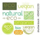 set of green eco labels. hand... | Shutterstock .eps vector #450451153