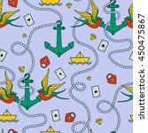 tattoo seamless pattern...   Shutterstock .eps vector #450475867