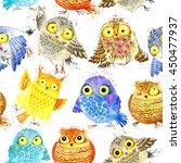 cute owl seamless pattern.... | Shutterstock . vector #450477937