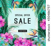sale banner  poster. tropical... | Shutterstock .eps vector #450486757